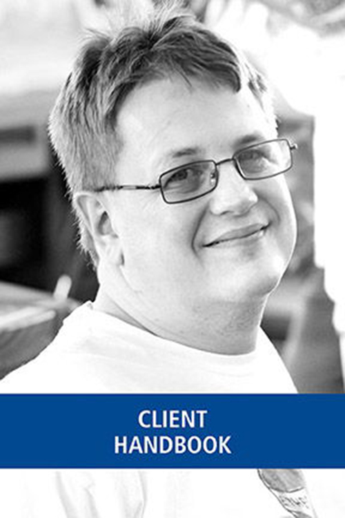 Client handbook featuring photo of man with glasses smiling and blue strip across the bottom.